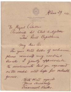 1921 carta de lasker desde el Hotel Almendares